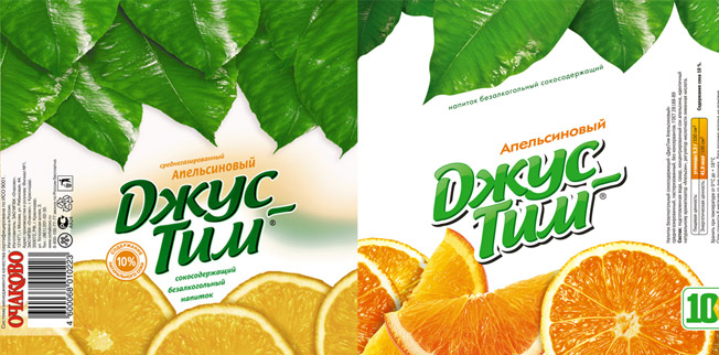 Printing materials & packaging , Restyling of labels for the line of soft beverages «Jus Tim»